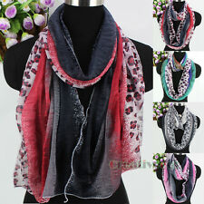 Womens Leopard Print Color Block Stitching Wrinkled Soft Long/Infinity Scarf New