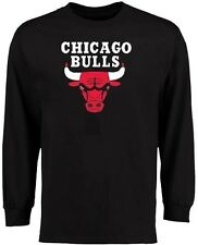 Chicago Bulls NBA Majestic Primary Logo Long Sleeve Black Shirt Youth Sizes