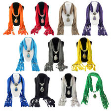 Stylish Alloy Resin Pendant Embellished Solid Color Scarf For Women WS