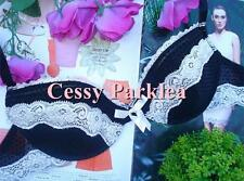 """"""" Knickerbox"""" Black White Satin Mesh Lace Slight Padded Wire Low- Cups Bras"""