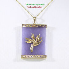 14k Solid Gold Hawaiian Bird of Paradise Greek Key 24x35mm Lavender Jade Pendant