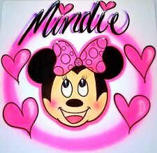 CUTE MINNIE MOUSE T-SHIRT AIRBRUSHED WITH ALL SIZES!!!! YOUTH & ADULTS!!!!!!