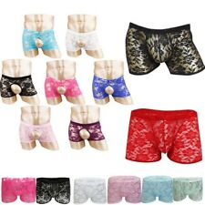 Men's Translucent Underwear Brief Lace Sheer See Through Boxer Trunks Underpants
