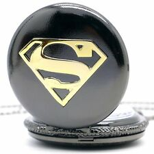 New Superman Cartoon Quartz Pocket Watch Retro Christmas Gift Vintage Mens Boys