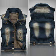 Vintage Cowboy Vest Mens Waistcoat Jacket Denim Sleeveless Coat Jeans Vest M-XXL