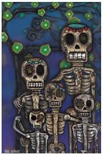 Our Family Fine Art Print by Abril Andrade Sugar Skull Day of the Dead Skeleton