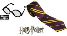 HARRY POTTER FANCY DRESS TIE & GLASSES SET SCHOOL BOY WIZARD HOGWARTS BOOK WEEK