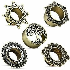 Flesh Tunnel Vintage Antique Gold Ear Piercing Jewelry Brass Ethno Stud Plug