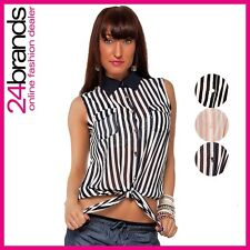 Ladies Business Blouse Shirt with Collar Chiffon Look striped
