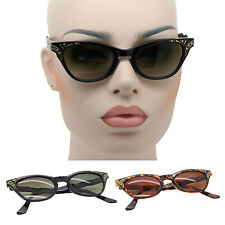 New Retro 60's Vintage Style Womens Sunglasses Fashion Cat Eye Black and Brown