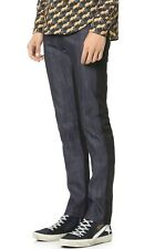 NAKED AND & FAMOUS SUPER SKINNY GUY BLACK + BLUE INDIGO RAW RIGID JEANS $160+