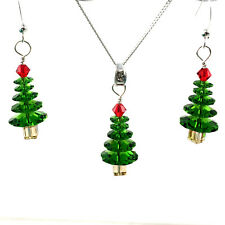 Sterling Silver Christmas Tree Earrings Made with Swarovski Elements
