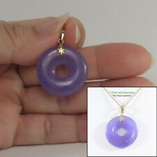 """14k Solid Yellow Gold 24mm Tablet Ring Shaped Lavender Jade Pendant 1.25"""" TPJ"""