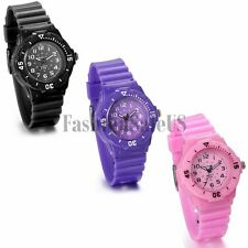 New Students Childrens Fashion Sport Anolog Dial Quartz Wrist Watch Rubber Strap