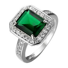 Green Emerald Cut CZ Band 10Kt White Gold Filled Engagement Party Ring Size 6-10