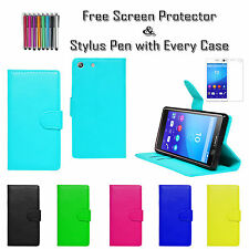 Premium Leather Pu Wallet Flip Stand Holder Case Cover Holder For Sony Xperia M5