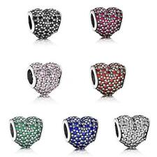 Crystal CZ Heart CHARM Bead Sterling Silver.925 For European Bracelets chain