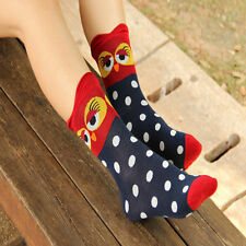 1Pair Stylish Unique Women and Girls Cartoon Lovely Cute Owl Cotton Socks
