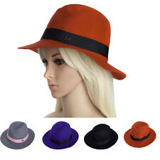 Women's Ladies  Wide Brim Hats Fedora Panama Hat Wool Hat with Fabric Band