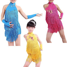 Latin Latin Fringe Dress Girls Ballroom Dance Costume Dancing Clothing WS