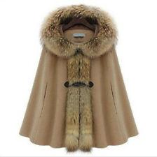 Warm Winter Womens Faux Fur Collar Batwing Cape Poncho Cloak Hoody Outwear Coat