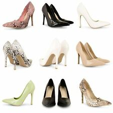 WOMENS HIGH HEELS POINTED CORSET STYLE WORK PUMPS PATENT LADIES COURT SHOES SIZE