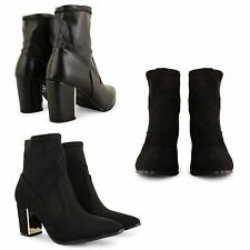 WOMENS LADIES NEW HIGH HEEL FAUX SUEDE LEATHER ANKLE BOOTS CHELSEA BOOTIES SHOES