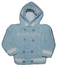 Baby Boys Cotton Lined Blue/White Cable Knitted Hooded Cardigan 0-24 Month