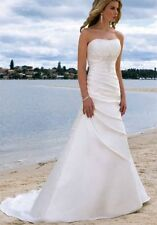 New Strapless White/ivory Organza Wedding Dress Bridal Gown Size:6 8 10 12 14 16