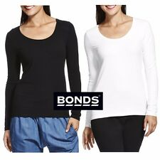 BONDS LADIES LONG SLEEVE SCOOP TEE TOP TSHIRT WOMENS BLACK WHITE SIZE S M L XL