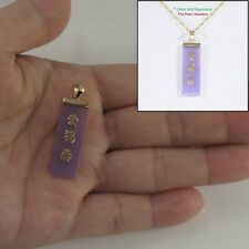"Chinese ""Love"" ""Good Luck"" ""Long Life"" 14k Yellow Gold Lavender Jade Pendant TPJ"