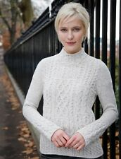 Ladies Cut Patchwork Wool Sweater - 100% Irish Wool, Made in Ireland (A680)