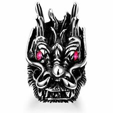 Men's Antique Black 316 Stainless Steel Ruby Eyes Dragon Head Vintage Ring