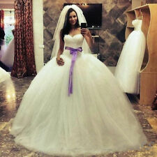 Plus Size White/Ivory Wedding Dresses Ball Gown Long Train Tulle Bridal Gowns