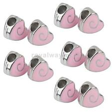 10PCs Heart Spacer Beads Jewelry Making Pendants Necklace Bracelet DIY Charms