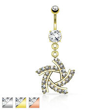 AF Surgical steel Belly button piercing Spiral Windmill with zirconia