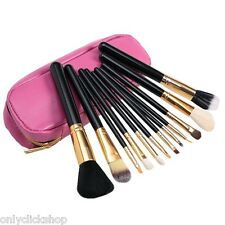 12Pcs Cosmetic Brush Set Makeup Tools Foundation Powder eyeshadow Zippered Bag