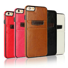 New Luxury Slim Genuine Leather Wallet Card Back Case Cover For iPhone & Samsung