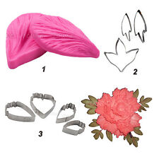 FOUR-C Silicone Lace Peony Mold Fondant Peony Flower and Leaf Cutter Veiner Set