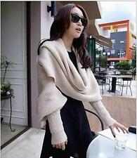 New Womens Knitted Shawl Cape Thicken Warm Sleeve Scarf Extra Long Wraps Size
