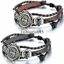 Unisex Men's Women's Lily Flower Leather Bracelet Charm Cuff Adjustable Bangle