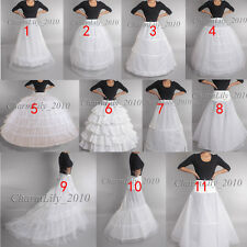 UNDER SKIRT BRIDAL PROM DRESS SLIP  SKIRT  CRINOLINE  WHITE WEDDING PETTICOAT