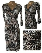 Gorgeous DOROTHY PERKINS Animal Print Mock Wrap Ruched Jersey Wiggle Dress 8 -20