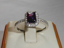 Ladies Solid 925 Sterling Baguette Cut Silver Amethyst & White Sapphire Ring