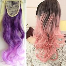 Chic Ombre Long Wavy Curly Ponytail Clip In Hair Dip Dye Extension Hairpiece A20