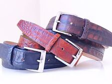 NEW GENUINE CROCODILE LEATHER BELT S M L XL 34 - 44 BROWN & BLACK MADE IN ITALY