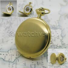 Gold Mechanical Skeleton 17 Jewel Classic Pocket Watch on Chain Gift Box P44