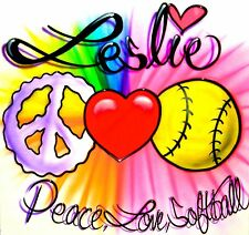 Peace, Love, & Softball Personalized T-Shirt Airbrushed! All Sizes Available!!!