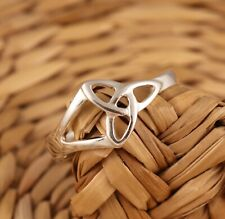 Solid 925 Sterling Silver Celtic Trinity Knot Ring Triquetra Various Sizes