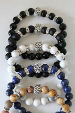 Gemstone Bracelet with Lion Head Charm & Rondelles - Gift Boxed - Approx 7 inch